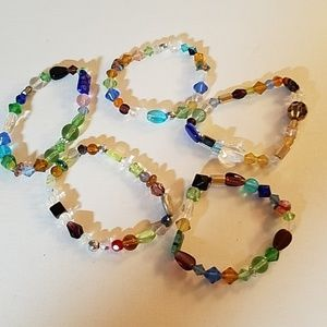 "Set 5 Handmade Bead Stretch 8"" Bracelets"